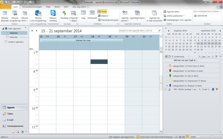 vergaderverzoek als verlofplanning - in kalender